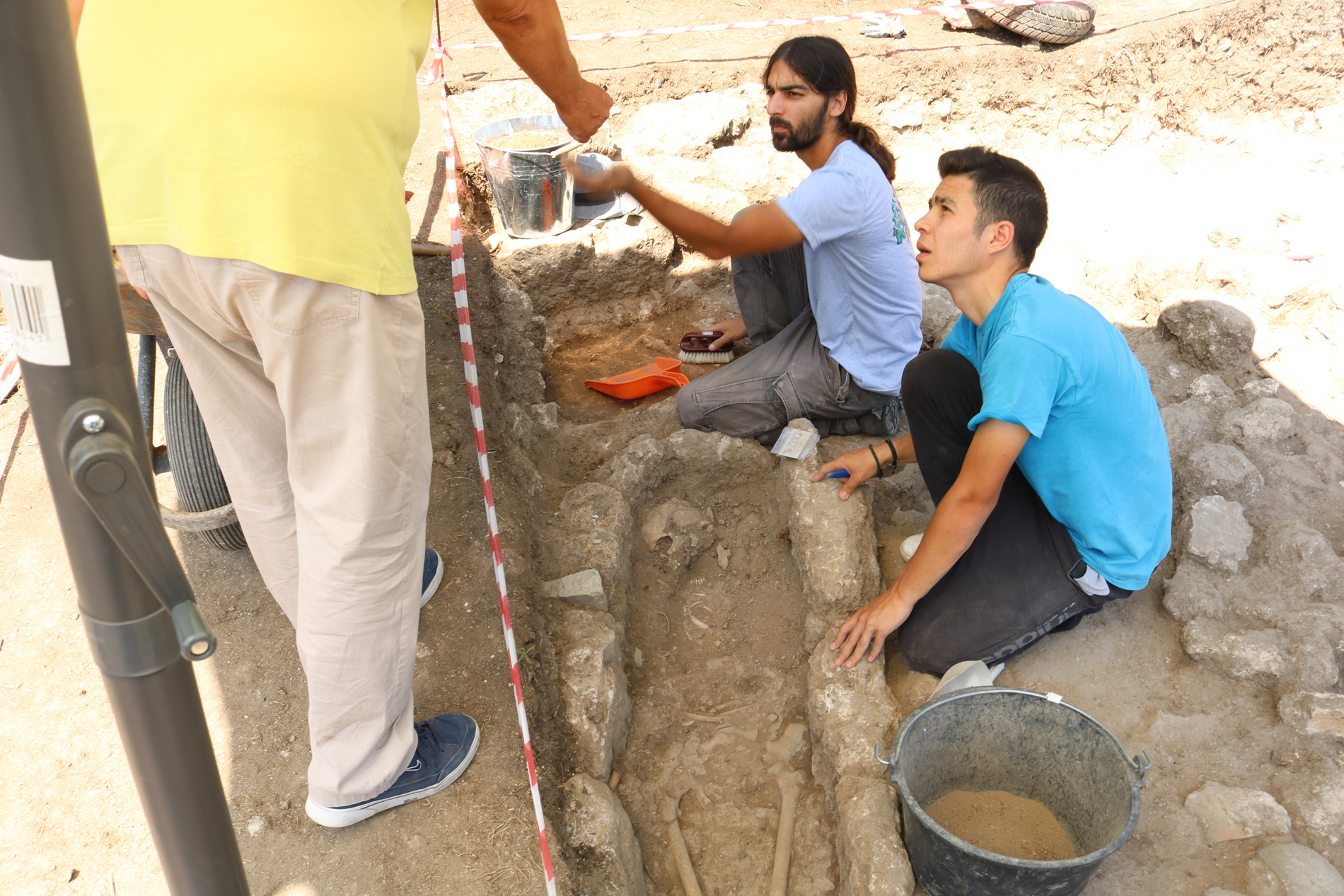 Archaeologists work on uncovering christian graves from the 4th century AD in Mieza